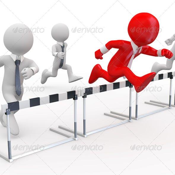 Businessmen in a Hurdle Race