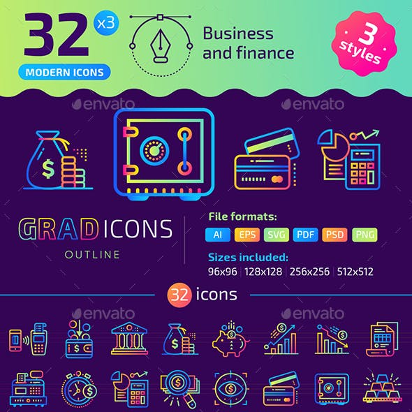 32+ Business and Finance Outline Icons