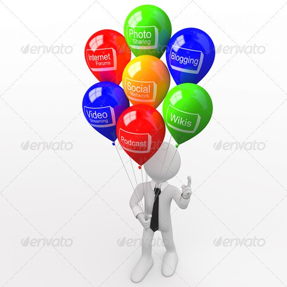 Man with a Bunch of Balloons - 3D Renders Graphics