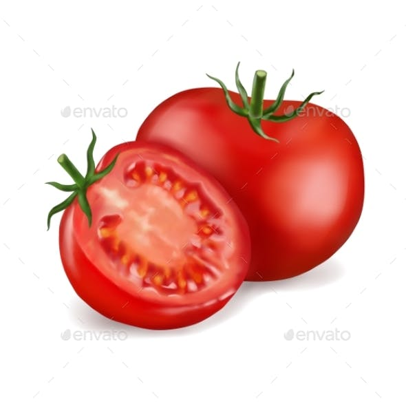 Tomato and Slice Isolated on White