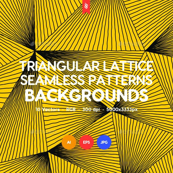 Wavy Triangular Lattice Seamless Patterns / Backgrounds