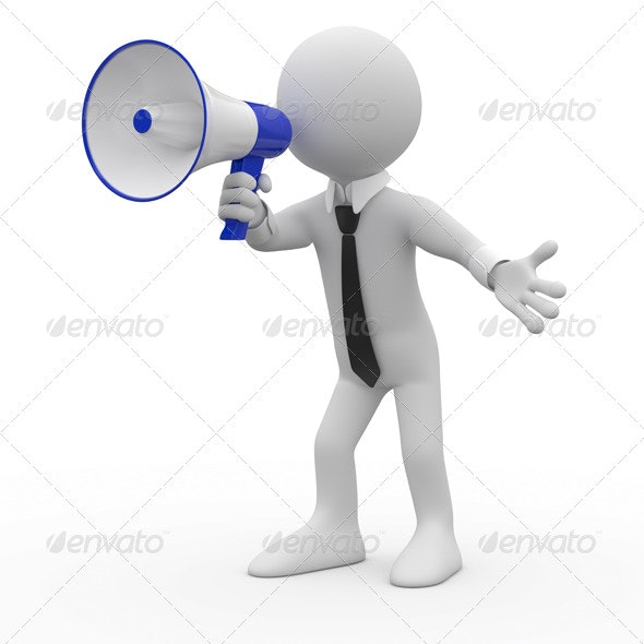 Man Talking on a White and Blue Megaphone - 3D Renders Graphics