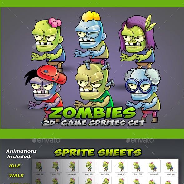 6 Zombies Game Sprites Set