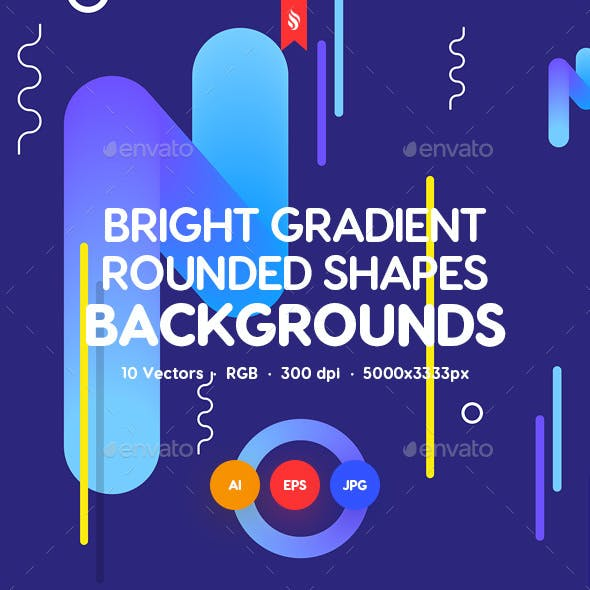 Bright Gradient Rounded Shapes Backgrounds