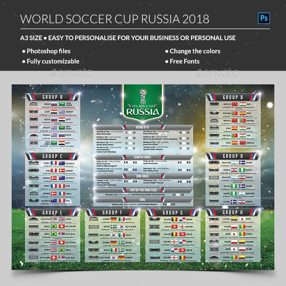 World Soccer Cup Russia 2018 Schedule