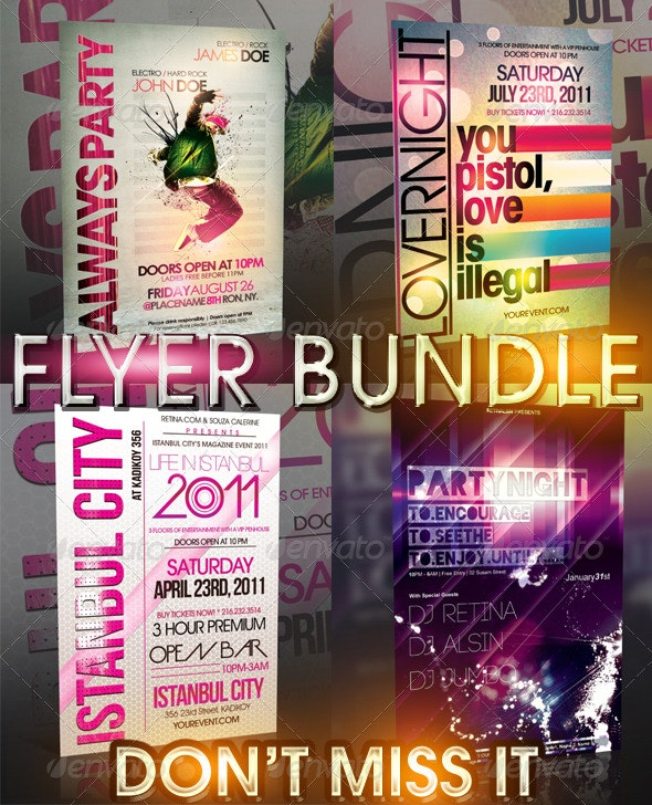 TYPOGRAPHY FLYER BUNDLE - 4IN1 - Clubs & Parties Events
