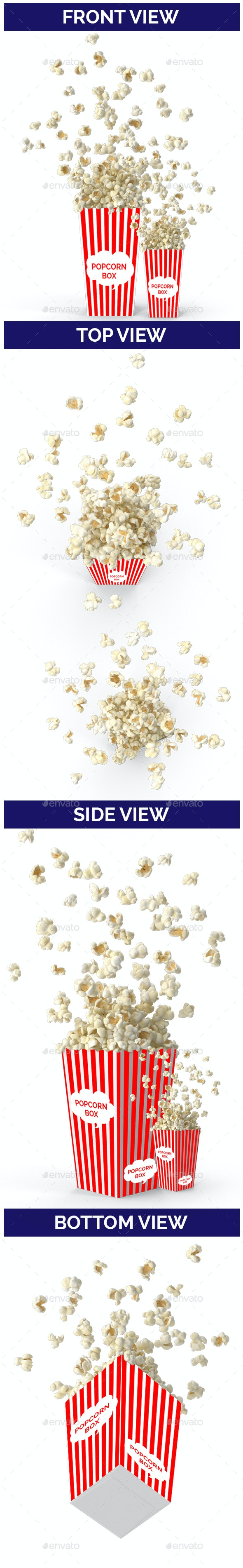 Popcorn Mockup with Box - Food and Drink Packaging