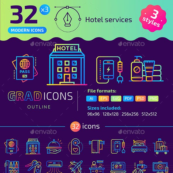 32+ Hotel Services Outline Icons