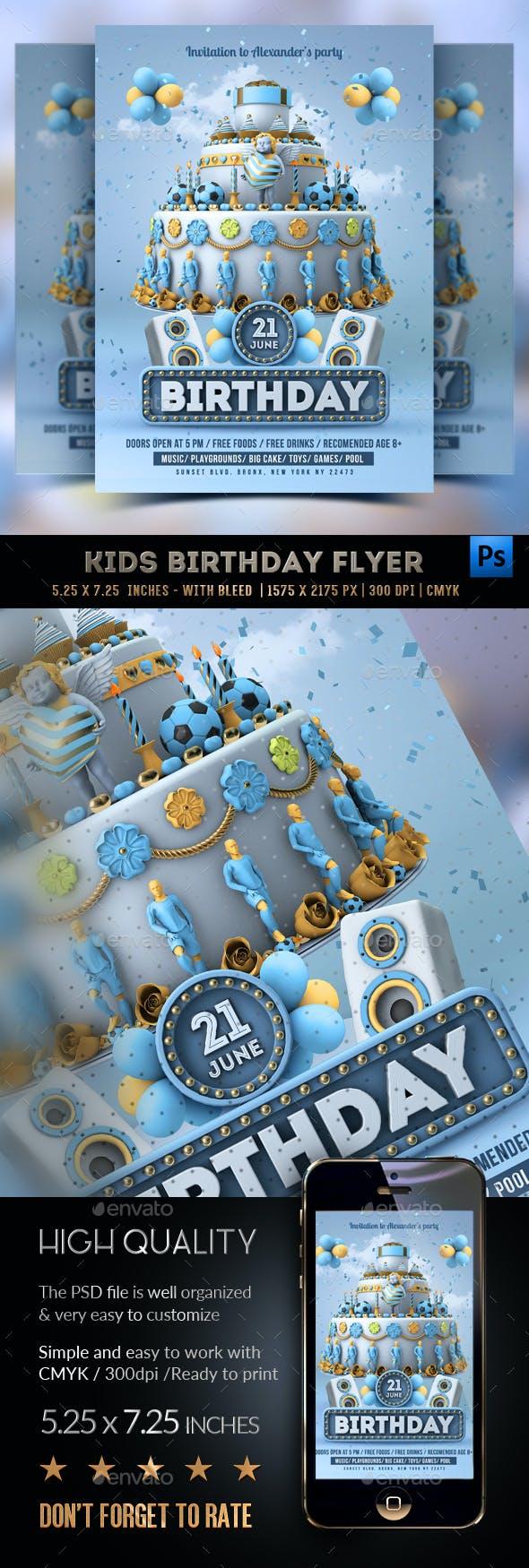 Kids Birthday Party - Boys Flyer