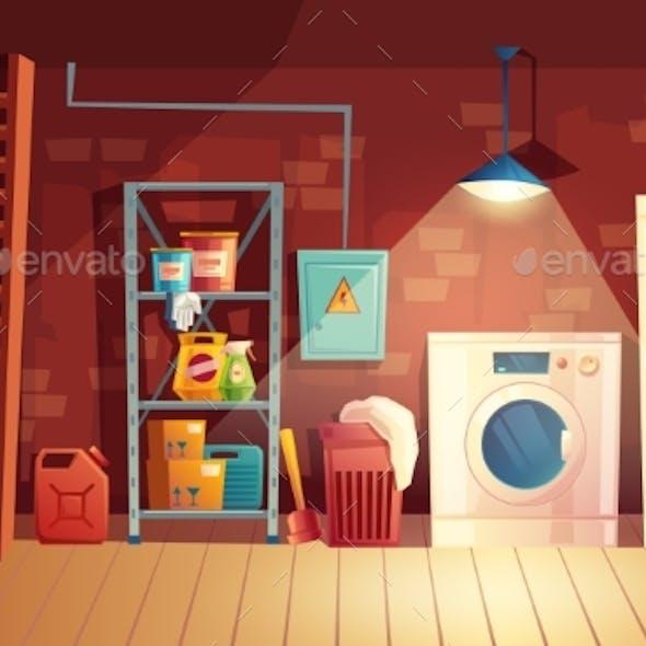 Vector Cellar Interior Cartoon Laundry