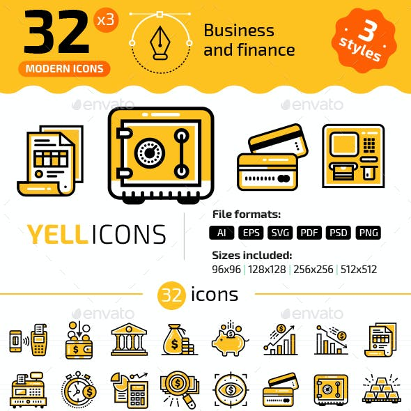 32+ Business & Finance Line Icons