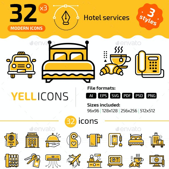 32+ Hotel Services Line Icons
