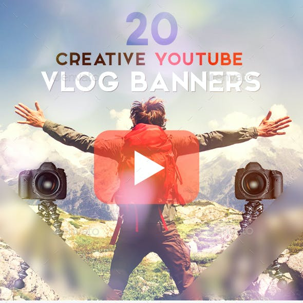 Vlog Bundle - 20 Creative YouTube Vlog Banners