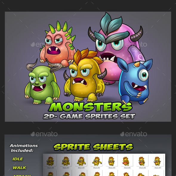 5 Monster Enemies Game Sprites