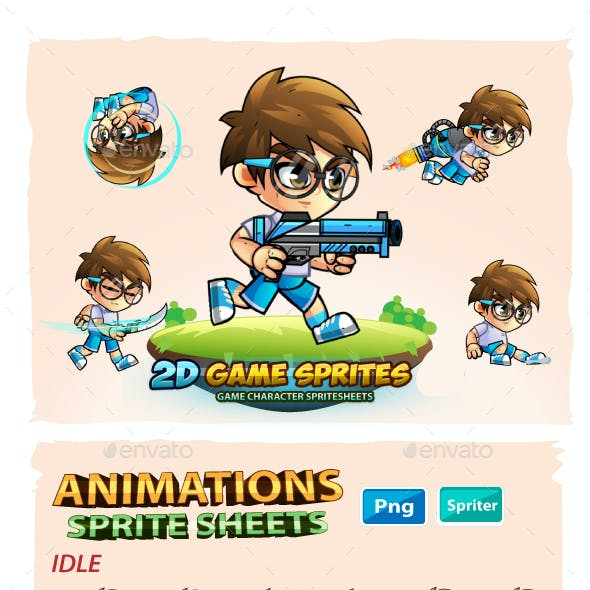 Geek Boy- 2D Game Character Sprites