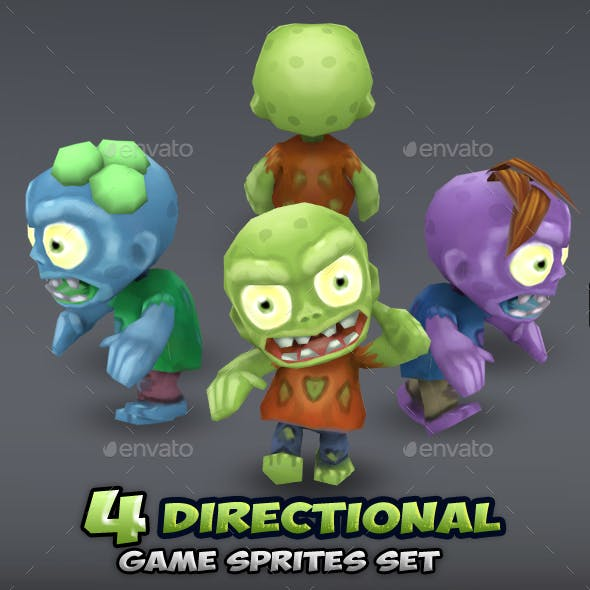 4-Directional Zombie Game Character Sprites