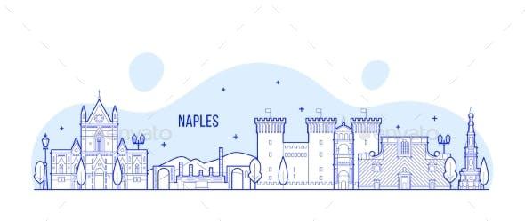 Naples Skyline, Italy City Buildings Vector