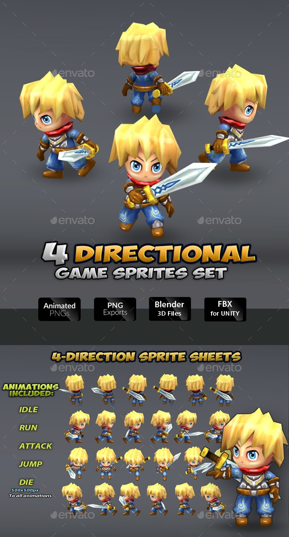 4-Directional Game Character Sprites - Sprites Game Assets