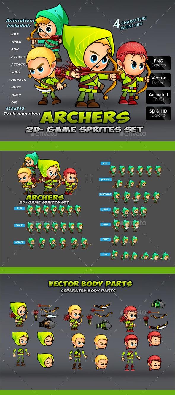 Arhers 2D Game Sprites Set - Sprites Game Assets