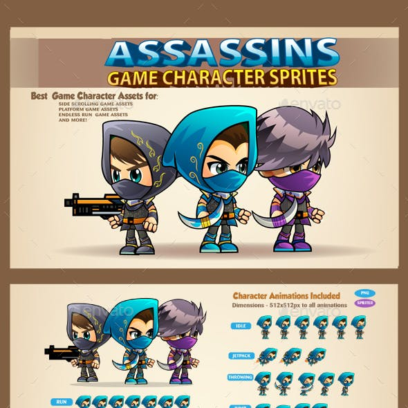 3 Assasins Game Character Sprites Sheets