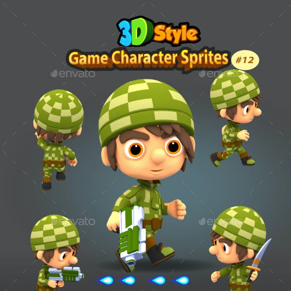 3D Rendered Game Character Sprites 12