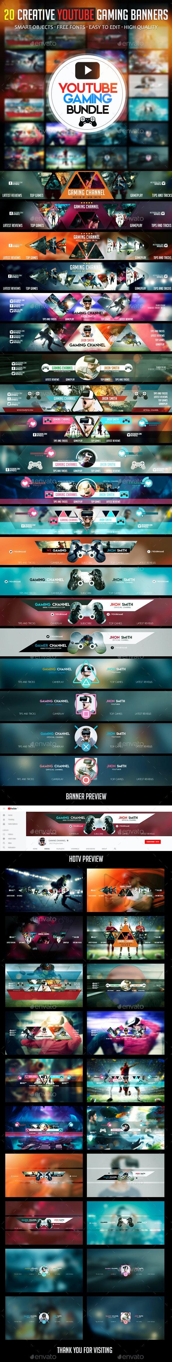 Gaming Bundle - 20 YouTube Gaming Banners - YouTube Social Media