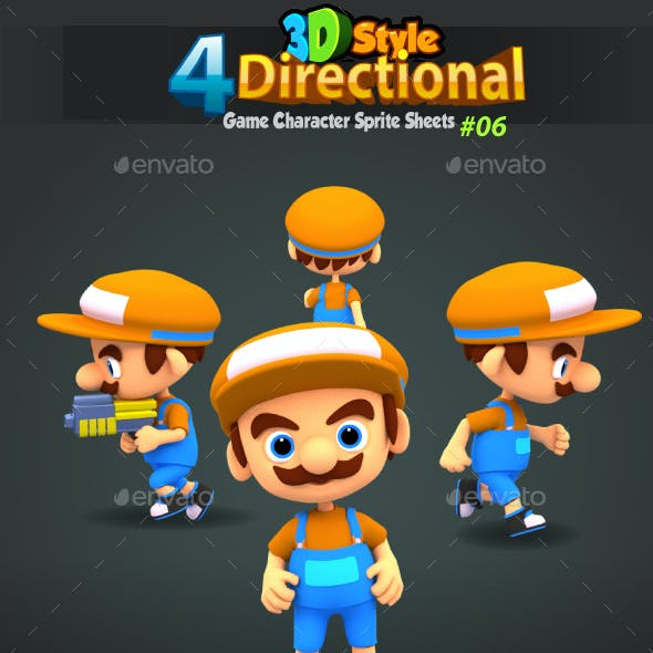4 Directional 3D Style Game Character Sprites 06