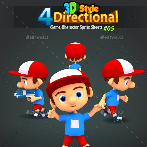 4 Directional 3D Style Game Character Sprites 05