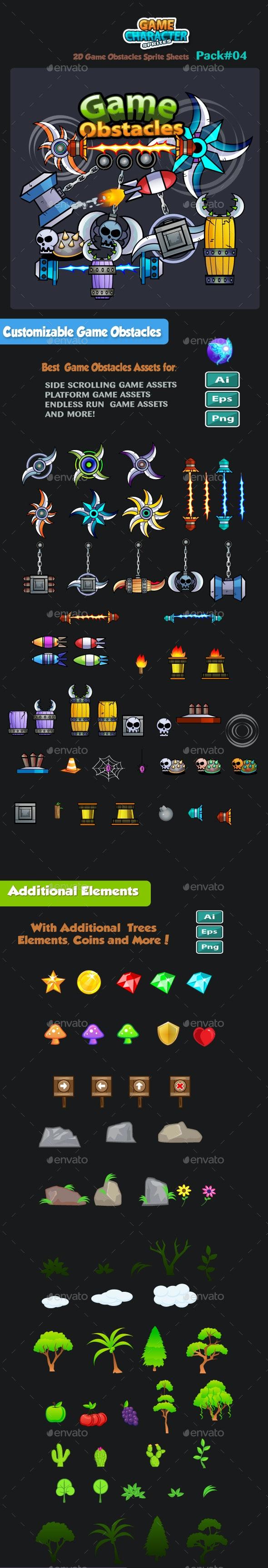 2D Game Obstacles 04 - Sprites Game Assets