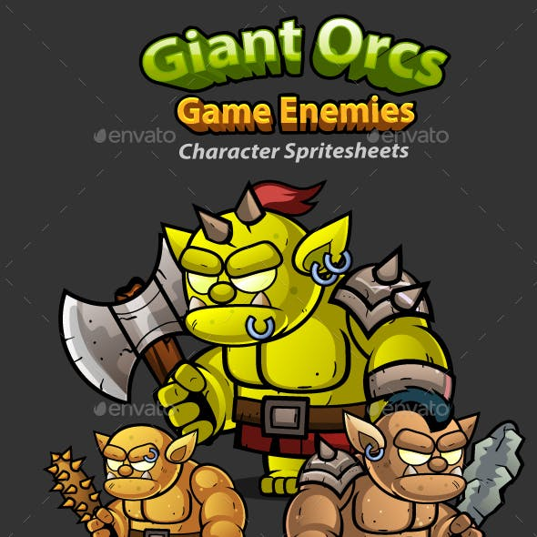 Giant Orcs 2D Game Character Sprites 260