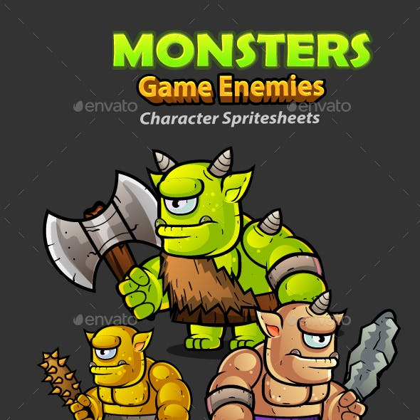 Cyclops Orcs 2D Game Character Sprites 258