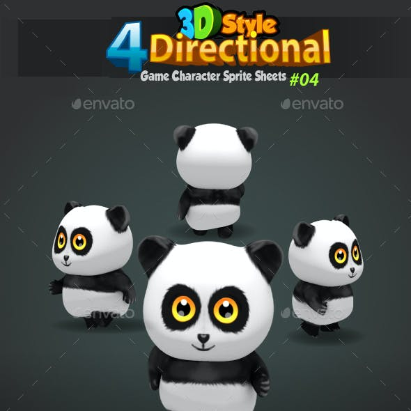 Panda 4-Directional 3D Style Game Character Sprites 04