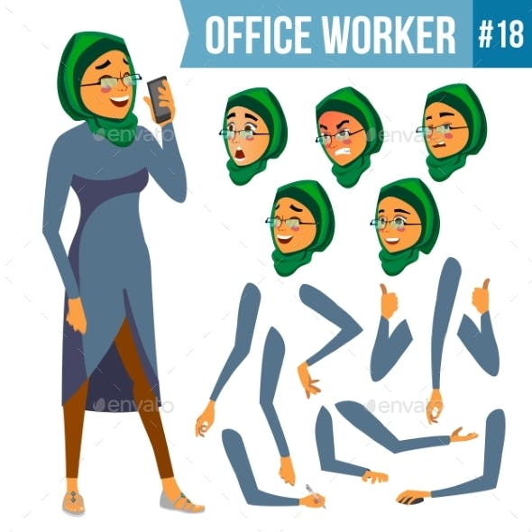 Office Worker Vector. Woman. Smiling Servant