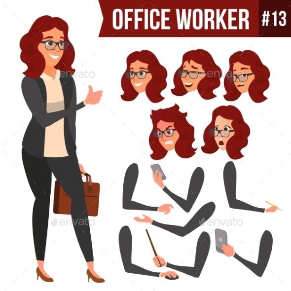 Office Worker Vector. Woman. Happy Clerk, Servant