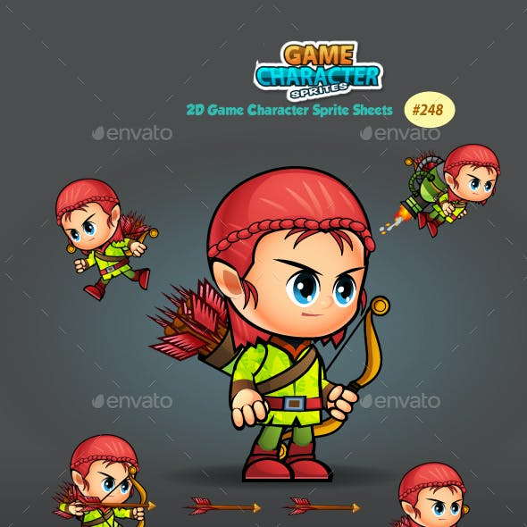 Girl Archer 2D Game Character Sprites 248