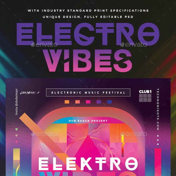 Electro Vibes DJ & Dance Party Poster