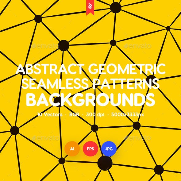 Geometric Seamless Patterns with Connected Lines and Dots Backgrounds