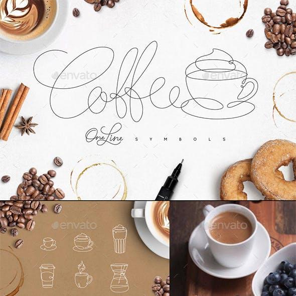 Coffee One Line Symbols