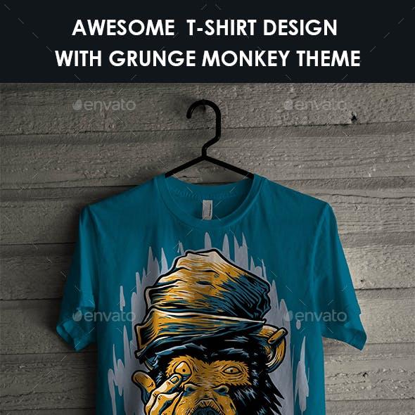 T-Shirt Design with Grunge Monkey Theme