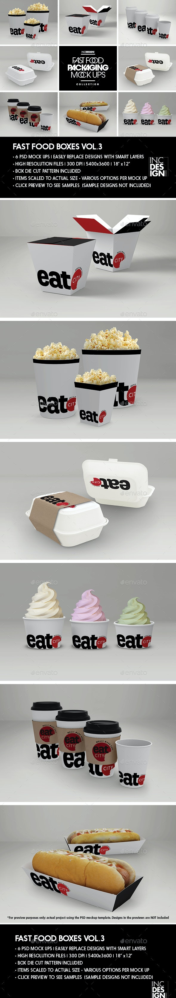 Fast Food Boxes Vol.3:Take Out Packaging Mock Ups - Food and Drink Packaging