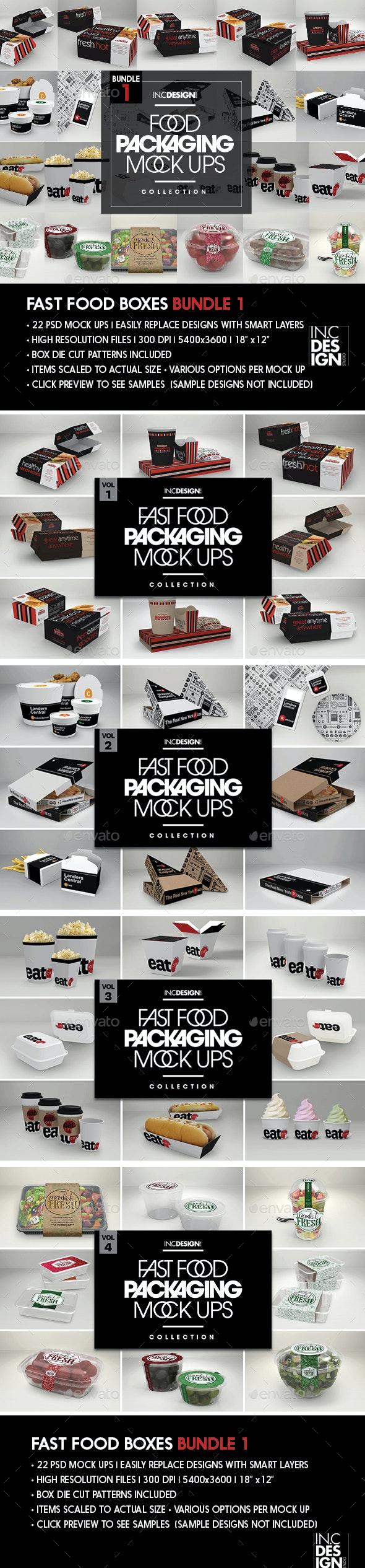 Fast Food Boxes Bundle - Food and Drink Packaging
