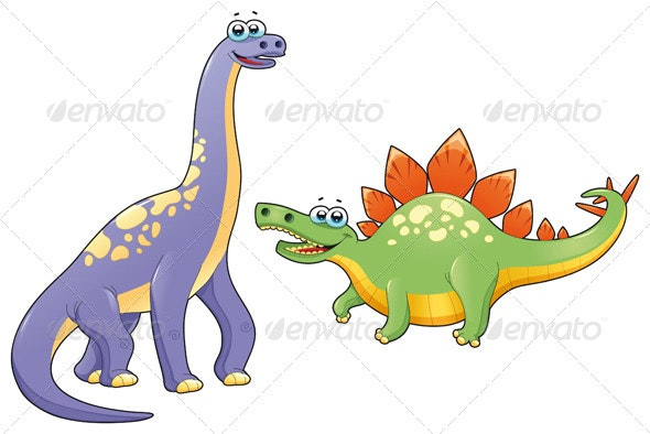 Couple of funny dinosaurs. - Animals Characters
