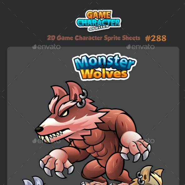 Wolves 2D Game Character Sprites 288