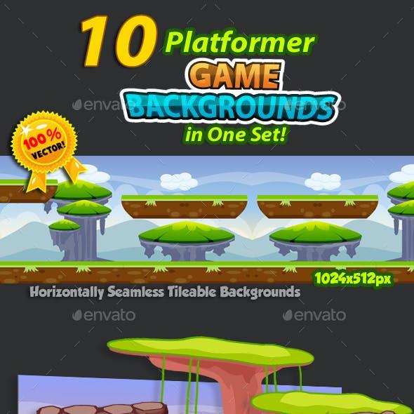10 Platformer Game Backgrounds Set 02