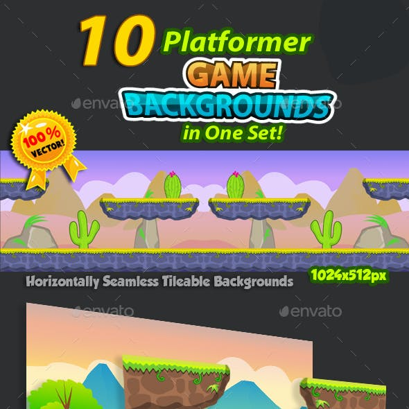 10 Platformer Game Backgrounds Set