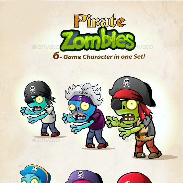 6  Pirate Zombies Character Sprites Pack