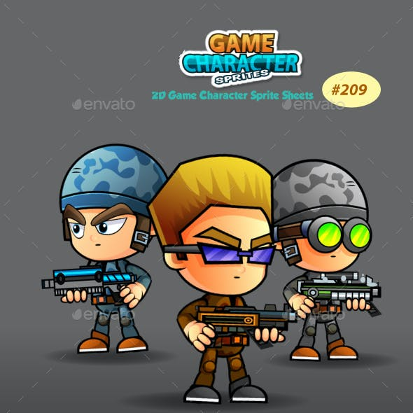 Soldiers 2D Game Character Sprites 209