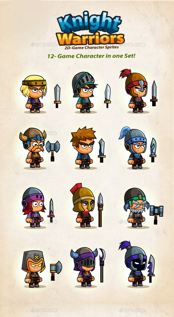 12- Knights Character Sprites - Sprites Game Assets
