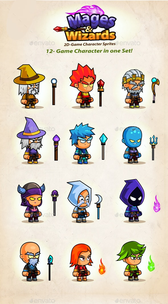 Mages & Wizards Game Character Sprites
