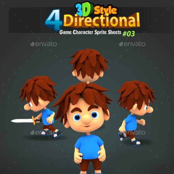 4 Directional 3D Style Game Character Sprites 03